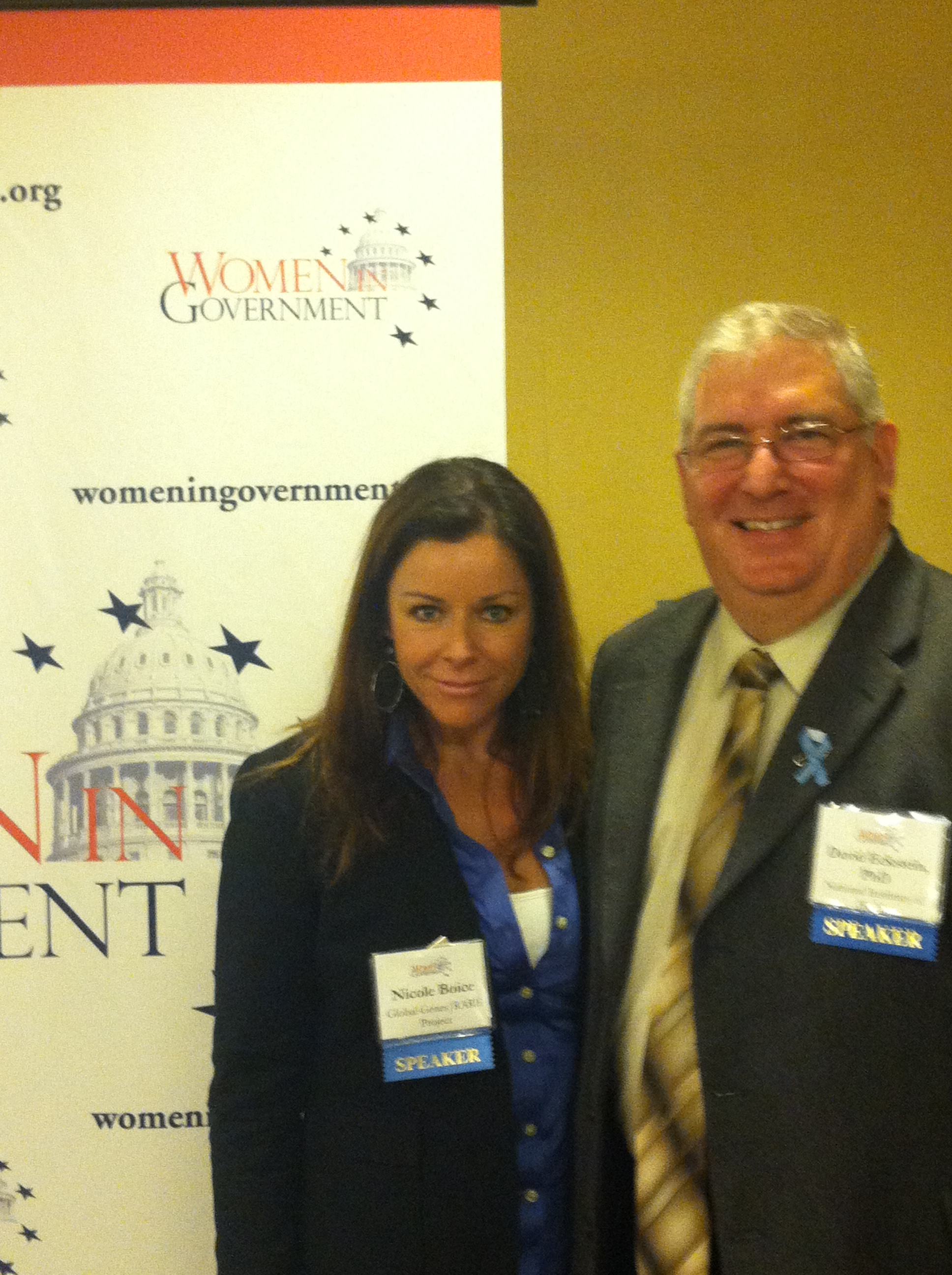 Nicole Boice, of Global Genes | R.A.R.E. Project, stands beside Dr. David Eckstein, of the National Institutes of Health.